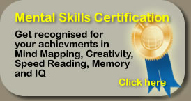 Mental Skills Certification Get recognised for your achievments in Mind Mapping Creativity, Speed Reading, Memory and IQ
